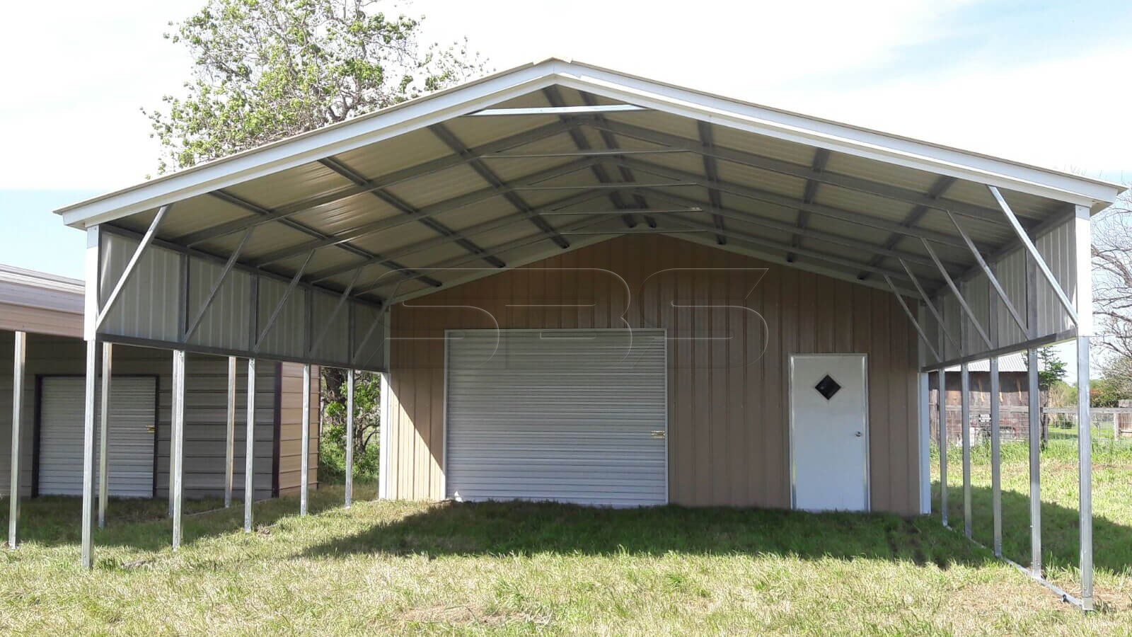 Enclosed Garage With Lean To · Metal Carport With Storage